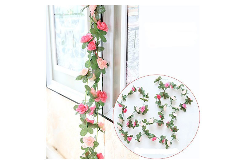 2 Pack 8.2 FT Fake Rose Vine Flowers Plants Artificial Flower Home Hotel Office Wedding Party Garden Craft Art Decor Pink