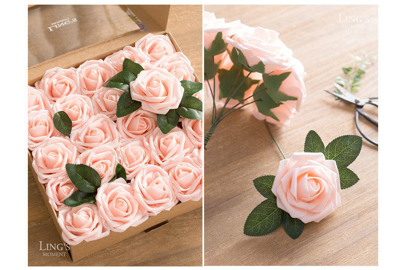 moment Artificial Flowers Blush Roses 50pcs Real Looking Fake Roses w/Stem for DIY Wedding Bouquets Centerpieces Arrangements Party Baby Shower Home Decorations