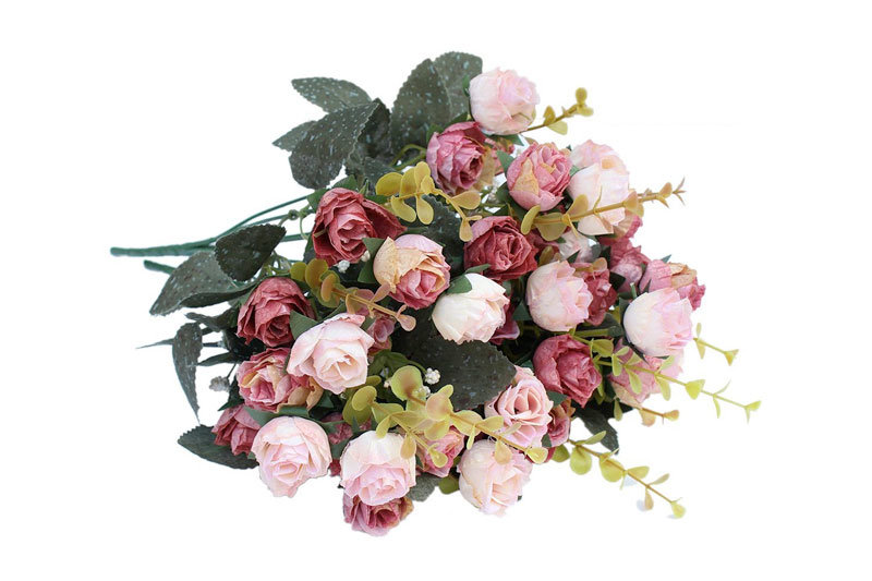 7 Branch 21 Heads Artificial Silk Fake Flowers Leaf Rose Wedding Floral Decor Bouquet,Pack of 2 (Pink coffee)