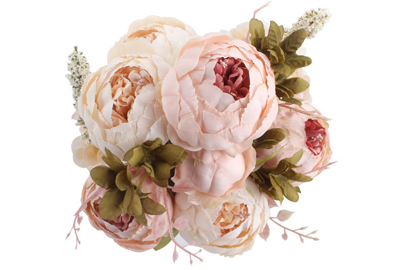 Fake Flowers Vintage Artificial Peony Silk Flowers Wedding Home Decoration,Pack of 1 (Light Pink)