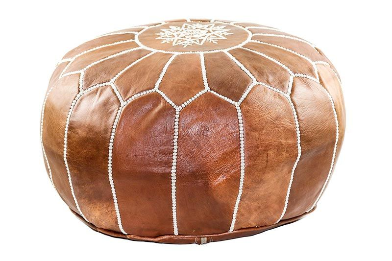 Handmade Leather Moroccan Pouf Footstool Ottoman | Brown Genuine Leather with Hand Embroidered White Stitching | Unstuffed