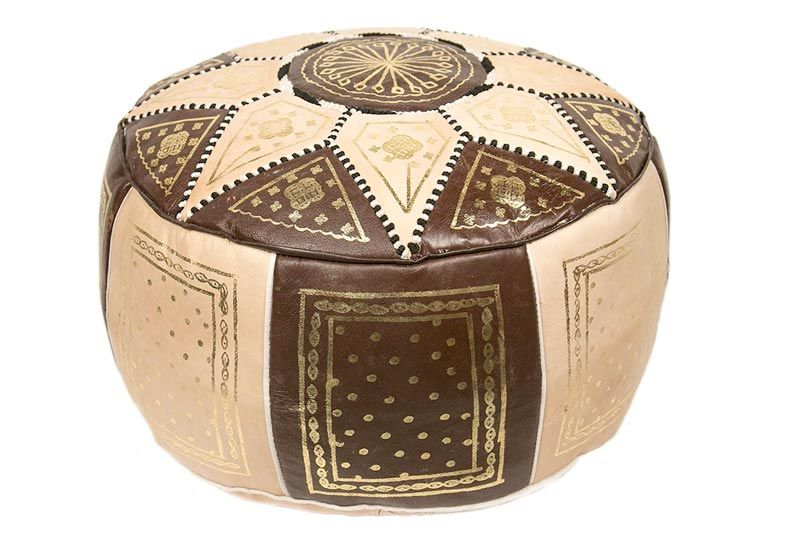 Casablanca Market Moroccan Marrakech Cotton Stuffed Leather Pouf, Brown