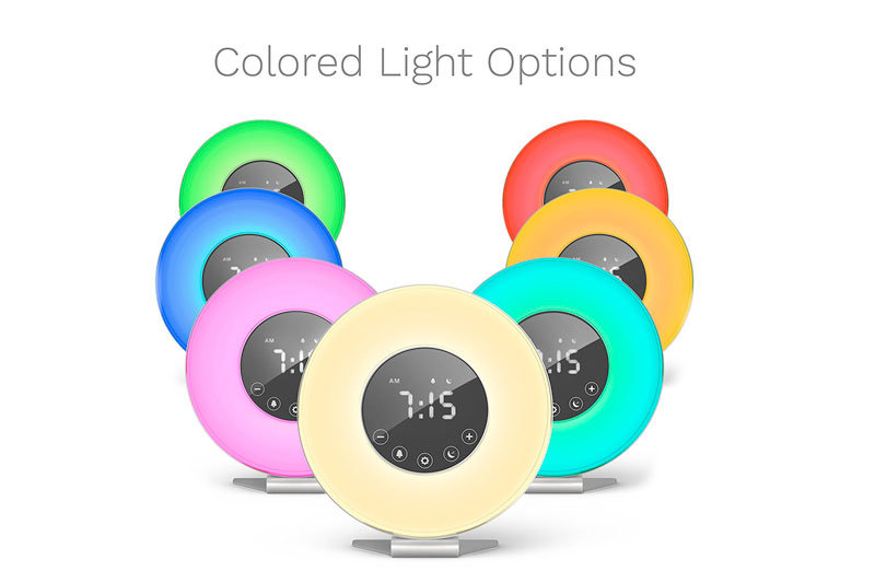 Sunrise Alarm Clock - Digital LED Clock with 6 Color Switch and FM Radio for Bedrooms - Multiple Nature Sounds Sunset Simulation & Touch Control - With Snooze Function for Heavy Sleepers