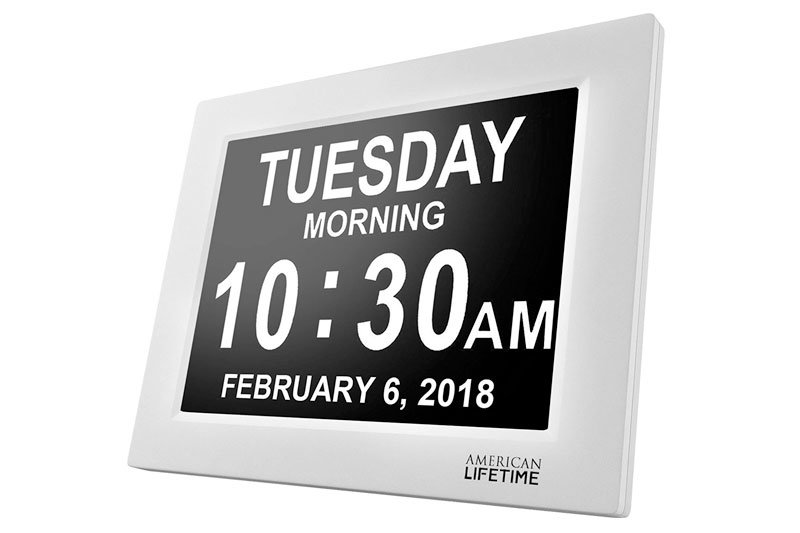 Day Clock - Extra Large Impaired Vision Digital Clock with Battery Backup & 5 Alarm Options - White