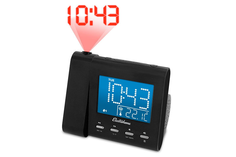 Projection Alarm Clock with AM/FM Radio, Battery Backup, Auto Time Set, Dual Alarm, Nap/Sleep Timer, Indoor Temperature/Day/Date Display with Dimming, 3.5mm Audio Connection