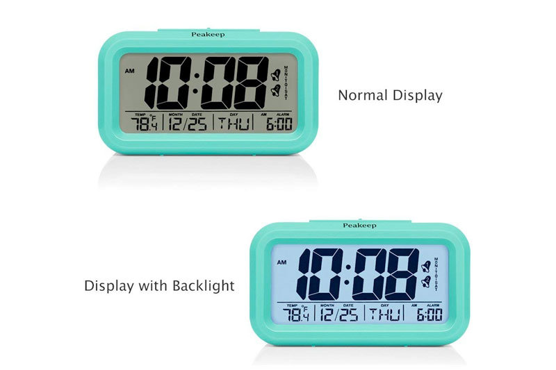 Battery Digital Alarm Clock with 2 Alarms, Snooze, Optional Weekday Alarm and Sensor Light (Mint Green)