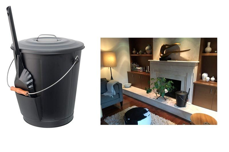 Ash Bucket for Fireplace with Shovel Tool, Large Capacity 6 Gallon Can with Lid and Wood Handle, Black Ash Bin w/ Shovel, Galvanized Ash Bin for Fireplace, Large Capacity Ash Container