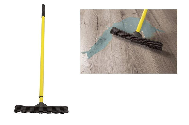 Broom with Squeegee made from Natural Rubber, Multi-Surface and Pet Hair Removal, Telescoping Handle that Extends from 3 ft to 6 ft