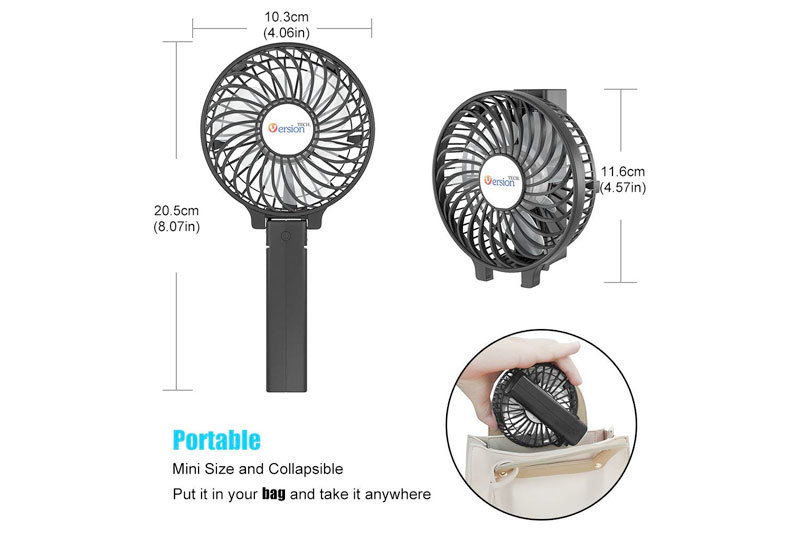 Personal Portable Desk Stroller Table Fan with USB Rechargeable Battery Operated Cooling Folding Electric Fan for Office Room Outdoor Household Traveling Black