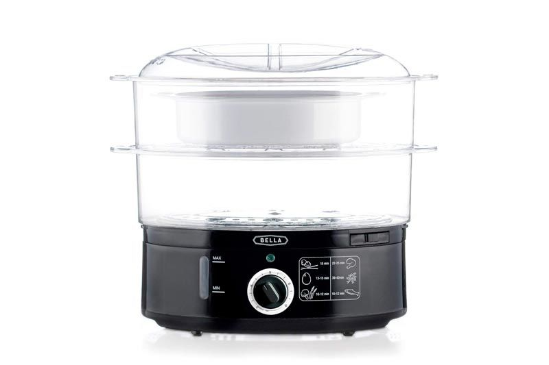 BELLA 7.4 Quart 2-Tier Stackable Baskets Healthy Food Steamer with Rice and Grains Tray