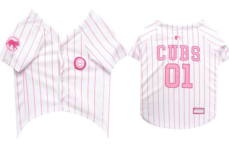 MLB Jersey For Dogs - CHICAGO CUBS Pink Jersey, X-Small. Cute Pink Outfit For Pets