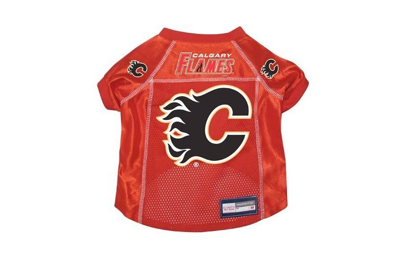 Calgary Flames Premium Pet Dog Hockey Jersey w/ Name Tag LARGE