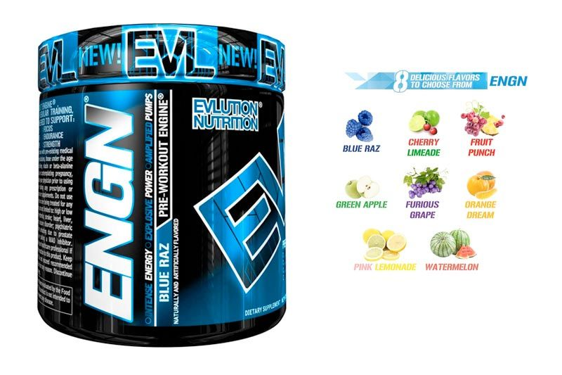 Evolution Nutrition ENGN Pre-workout, 30 Servings, Intense Pre-Workout Powder for Increased Energy, Power, and Focus (Blue Raz) Pikatropin-Free