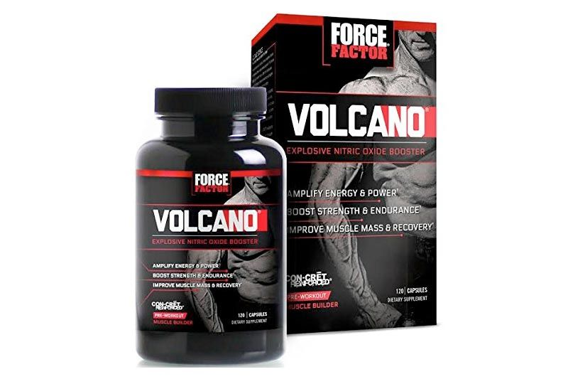 VolcaNO Pre-Workout Nitric Oxide Booster with Creatine, Boost Nitric Oxide, Energy, and Strength, Build Muscle, Better Pump, Force Factor, 120 Count