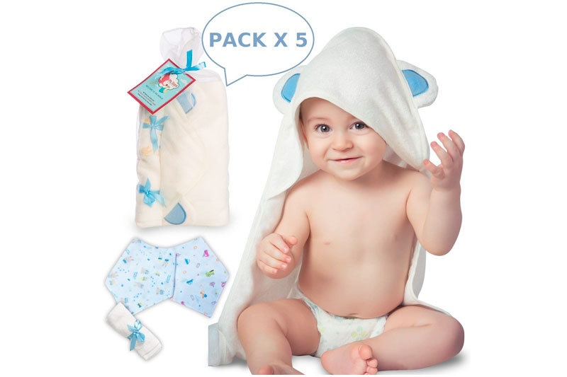 "Bamboo Hooded Baby Towel with washcloth & two bandana bibs set | Organic, Antibacterial & Hypoallergenic | Extremely Soft | Highly absorbent | Newborn and Toddler Size 30"" x 30"