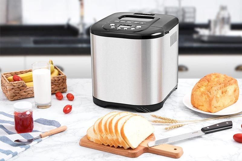 2.2LB Stainless Steel Bread Machine with Gluten Free Menu setting, 3 Loaf Sizes, 3 Crust Colors, 15-Hour Delay Timer, 1 Hour Keep Warm