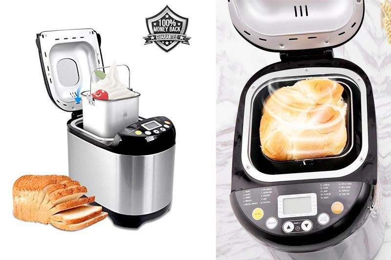 Bread Maker 19 Digital LCD Display Stainless Steel Automatic Bread Machine with 15 Hours Delay Timer Programmable Bread Maker Machine with Recipe