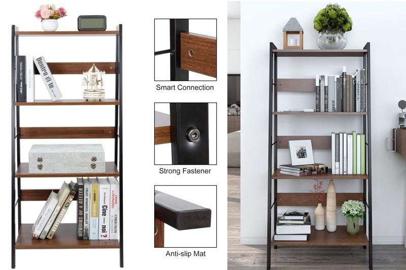 4 Tier Leaning Ladder Shelf Bookcase Bookshelf Multi Use Display Storage Wall Shelves Unit Rack, Carbon Steel & Wood