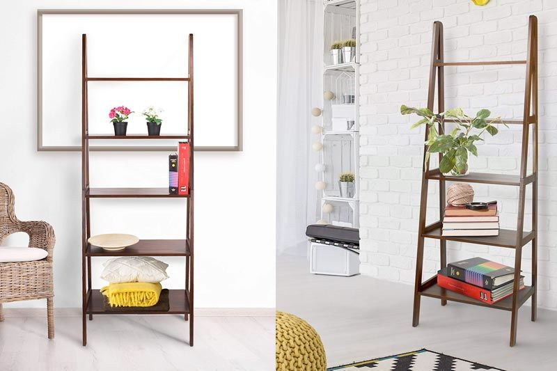 5-Shelf Ladder Bookcase, Warm Brown