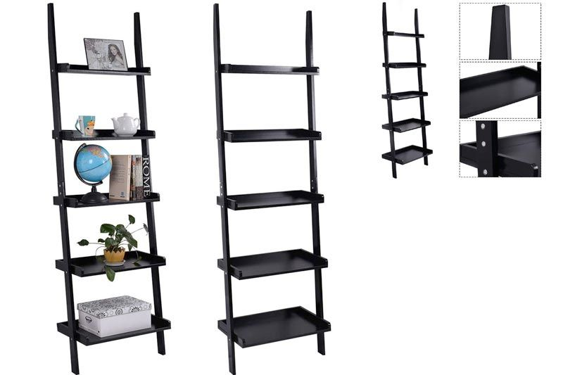 Ladder Bookcase 5-Tire Wood Leaning Shelf for Home Office Modern Flower Book Display Shelf Storage Rack Stable A-Frame Wooden Ladder Shelf