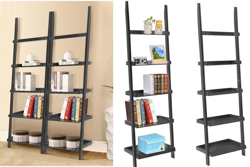 "Wooden 5 Tier Leaning Ladder Shelves Display Shelves Unit Living Room Black (70"",2pcs)"