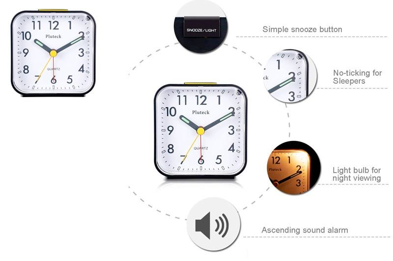 Non Ticking Analog Alarm Clock with Nightlight and Snooze/Ascending Sound Alarm/Simple to Set Clocks, Battery Powered, Small, Black