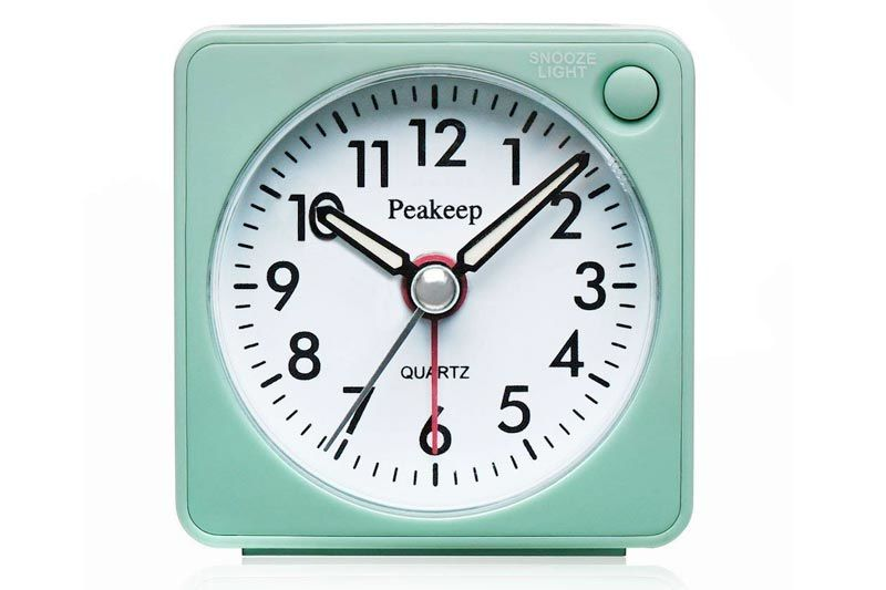 Ultra Small, Battery Travel Alarm Clock with Snooze and Light, Silent with No Ticking Analog Quartz (Aquamarine)