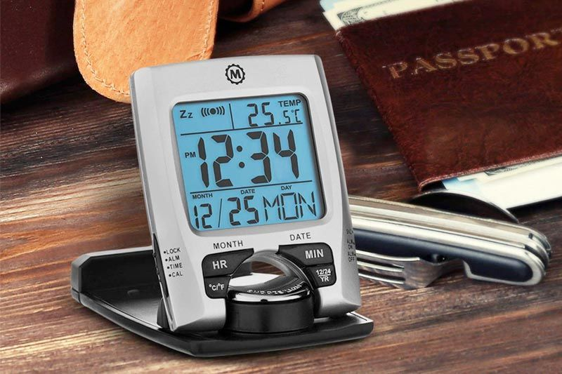 Travel Alarm Clock with Calendar & Temperature - Battery Included