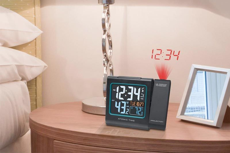 Color Projection Alarm Clock with Outdoor temperature & Charging USB port