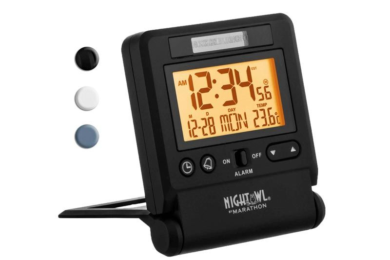 Atomic Travel Alarm Clock with Auto Night Light Feature, Batteries Included (Black)
