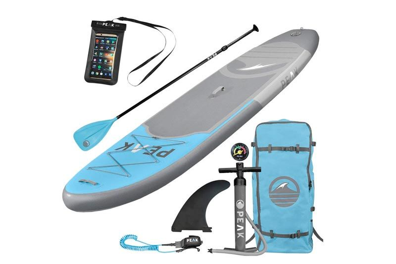 "ISLE Surf and SUP PEAK Inflatable 10'6 Stand Up Paddle Board Complete Package (6"" Thick) 
