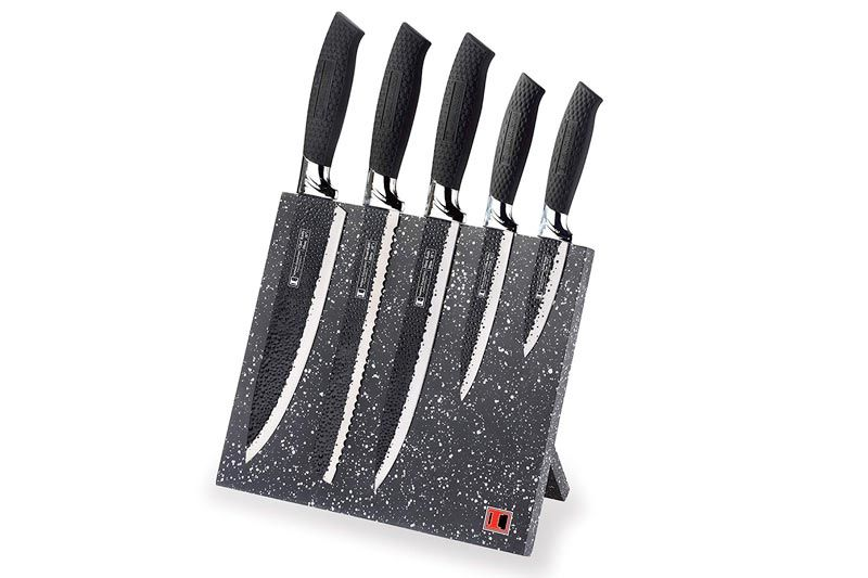 Stainless Steel Knife Set with Magnetic Knife Block Featuring Embossed Blades with Non-Stick Coating, Ergonomic Soft Grip (6-Piece Set of Knives, Black Handles)