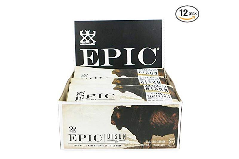 Epic All Natural Meat Bar, 100% Grass Fed, Bison, Uncured Bacon and Cranberry, 1.3 ounce bar, (Pack of 12)