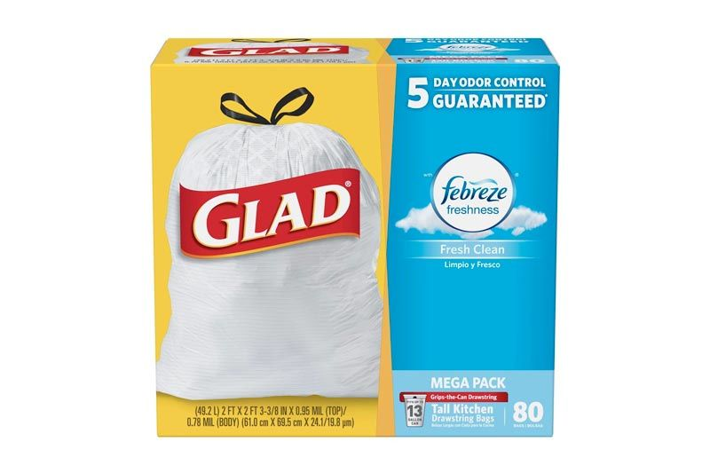Glad Tall Kitchen Odor Shield Drawstring Trash Bags, Fresh Clean Scent, White - 13 gal - 80 ct