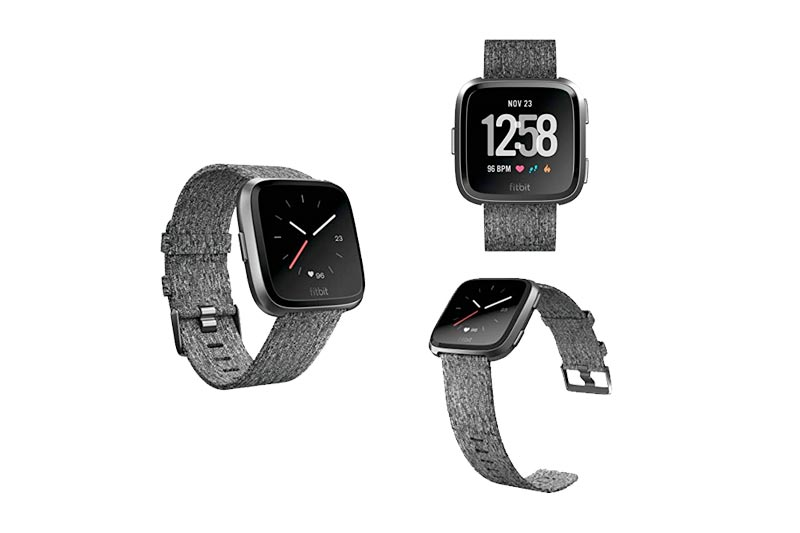 Fitbit Versa Special Edition Smartwatch, Charcoal Woven, One Size (S & L Bands Included)