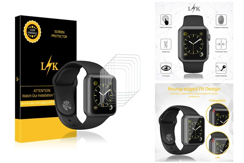 [6 Pack] LK for Apple Watch Screen Protector (38mm Series 3/2/1 Compatible), Liquid Skin [Full Coverage] [Anti-Bubble] HD Clear with Lifetime Replacement Warranty