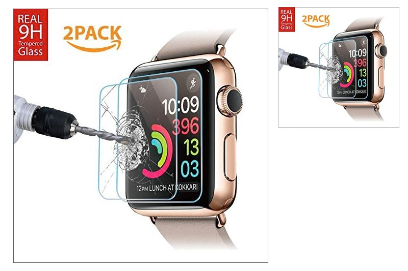 42mm [2 Pack] Apple Watch Screen protector for Series 1, 2 & 3 [Only Covers the Flat Area]