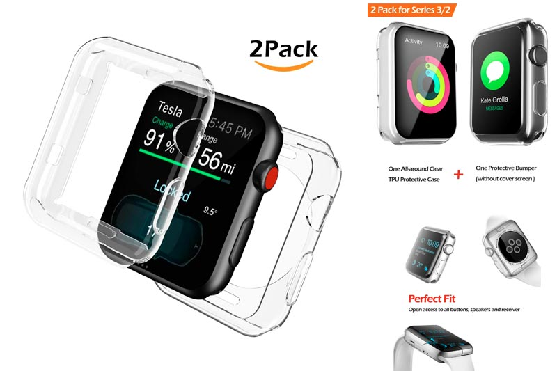 For Apple Watch Screen Protector, One All-around Clear TPU Protective Case and One iWatch Cover Protective Bumper Both for Apple Watch Series 3, Series 2 38mm [2 Pack]