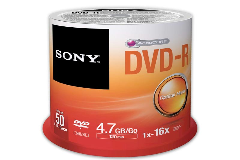 Sony 100DMR47SP 16x DVD-R 4.7GB Recordable DVD Media - 100 Pack Spindle