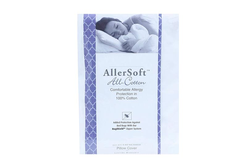 Allersoft 100% Cotton Bed Bug, Dust Mite & Allergy Control Pillow Protector - Standard