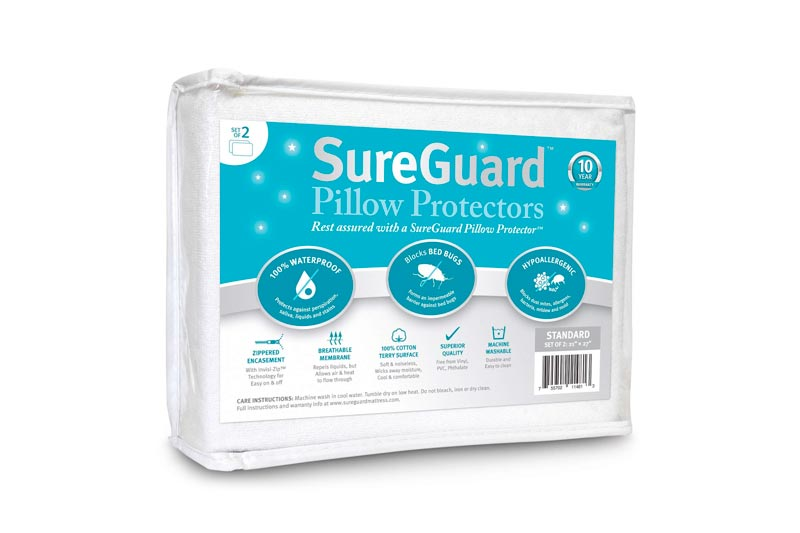 Set of 2 Standard Size SureGuard Pillow Protectors - 100% Waterproof, Bed Bug Proof, Hypoallergenic - Premium Zippered Cotton Terry Covers - 10 Year Warrant