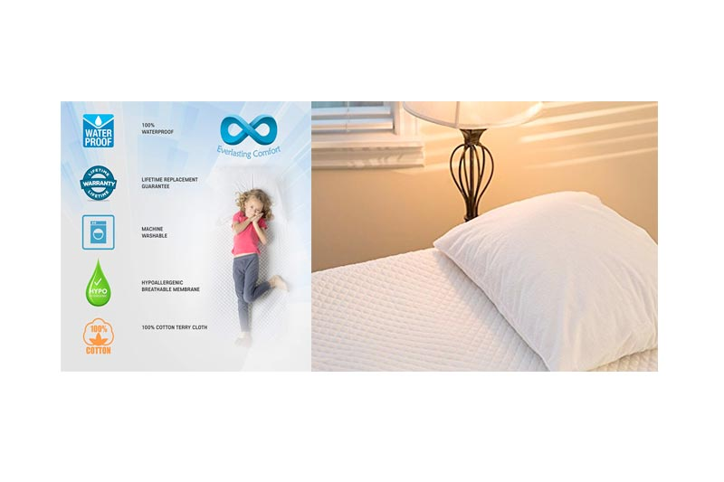 Everlasting Comfort 100% Waterproof Pillow Protector, Hypoallergenic Pillow Covers, Breathable Membrane, Lifetime Replacement Guarantee (Queen, 2-Pack)