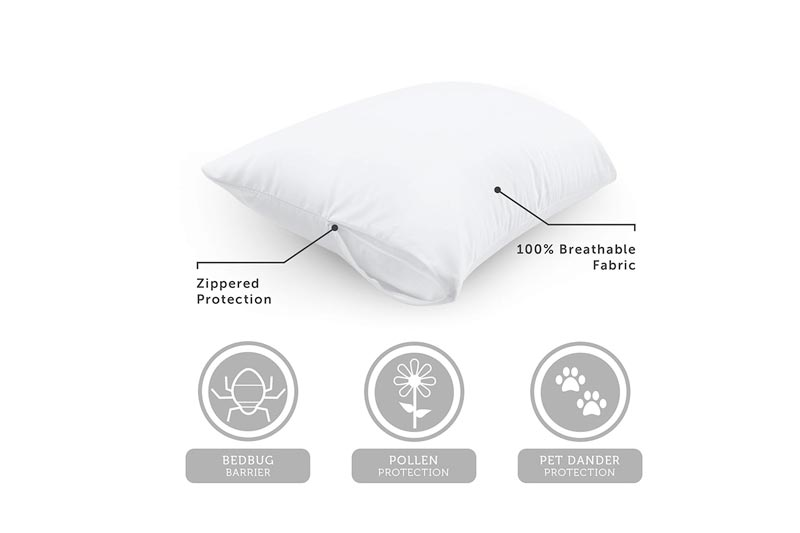 "AllerEase 100% Cotton Allergy Protection Pillow Protectors – Hypoallergenic, Zippered, Allergist Recommended, Prevent Collection of Dust Mites and Other Allergens, Queen Sized, 20"" x 30"" (Set of 2)"