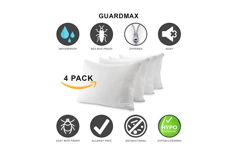 Guardmax Bedbug Proof Waterproof Pillow Protectors Hypoallergenic Covers - Zippered Encasement Style - Set of 4 - Quiet! (Standard - 4 Pack)