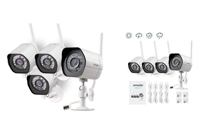 Zmodo Wireless Security Camera System (4 Pack) Smart HD Outdoor WiFi IP Cameras Night Vision