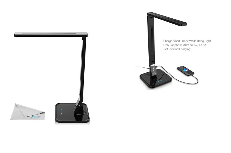 Fugetek LED Desk Lamp FT-L798, Exclusive Model with Recessed LEDs, 5-Level Brightness, 4-Lighting Modes, Touch Control Panel, 1-Hour Auto Timer, 14W, 5V/1A USB Charging Port (Black)