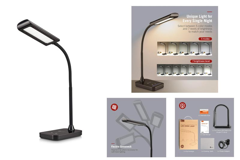 TaoTronics LED Desk Lamp, Flexible Gooseneck Table Lamp 7W, 5 Color Temperatures with 7 Brightness Levels, Touch Control, Memory Function