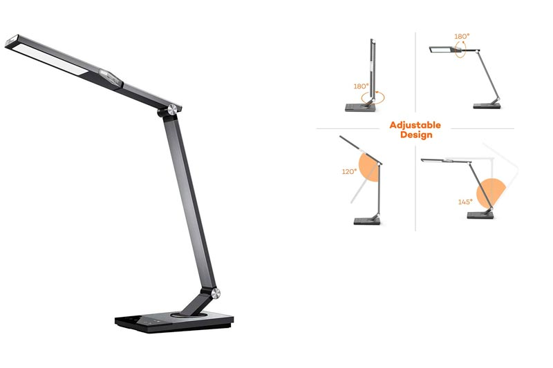 TaoTronics Stylish Metal LED Desk Lamp, Office Light with 5V/2A USB Port, 5 Color Modes, 6 Brightness Levels, Touch Control, Timer, Night light, Official Member of Philips EnabLED Licensing Program