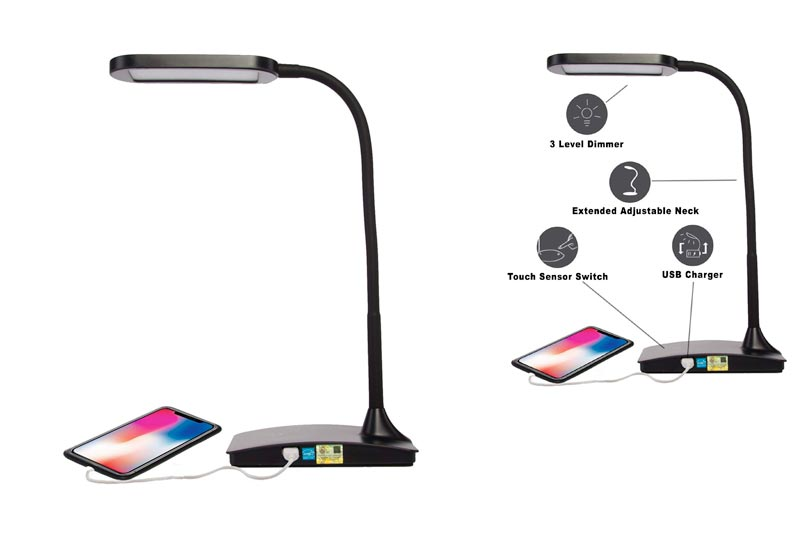 TW Lighting IVY-40BK The IVY LED Desk Lamp with USB Port, 3-Way Touch Switch, Black