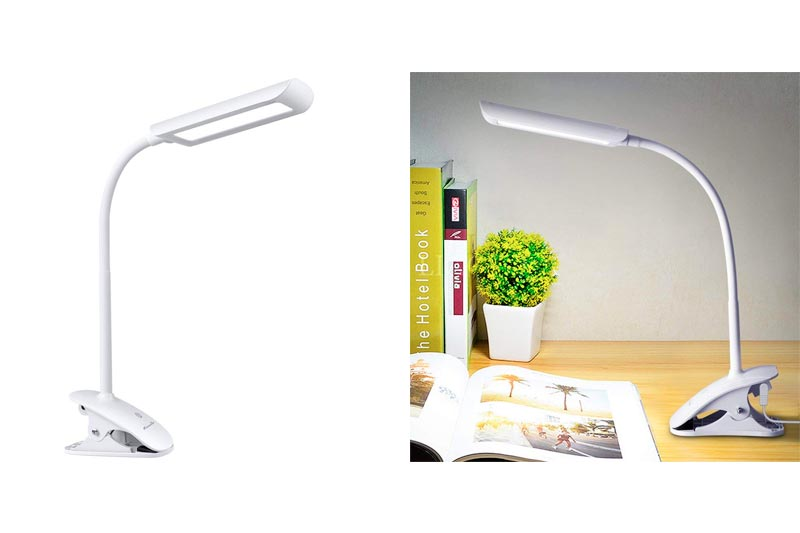 KEDSUM 7W Dimmable LED Desk Lamp, Flexible Gooseneck Clip on Light with 3-Level Dimmer, Touch-Sensitive Control Panel, Clip on Lamp for Desk, Bed Headboard and Computers